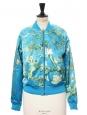 Veste bombers VINCENT VAN GOGH fleurs d'amandier vert et bleu turquoise Prix boutique €130 Taille S