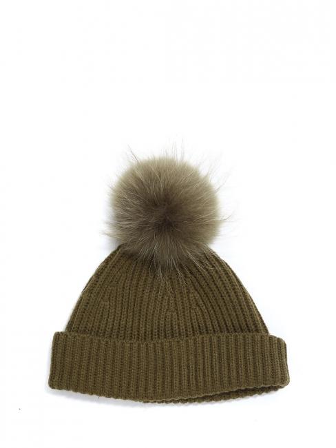 Bonnet en maille vert kaki et pompon fausse fourrure Prix boutique 150€
