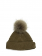 Khaki green knitted beanie / hat with faux fur pompon Retail price €150