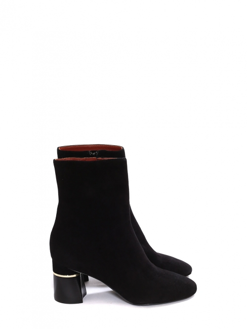 DRUM Black suede leather ankle low heel boots with sliver of metal Retail price €575 Size 38