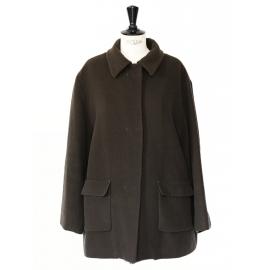 Manteau en pure laine vierge vert kaki Px boutique 1800€ Taille 38