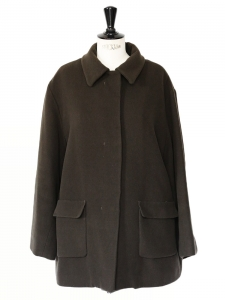 Chocolate brown pure new wool felt coat Retail price €1800 Size 38