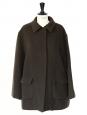 Manteau court en feutre de pure laine vierge brun chocolat Px boutique 1800€ Taille 38