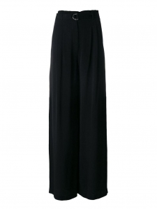 Palazzo paper bag black crepe high waist fluid wide leg pants Retail price €450 Size 38