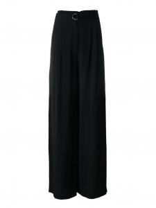 Palazzo paper bag black crepe high waist fluid wide leg pants Retail price €450 Size 38
