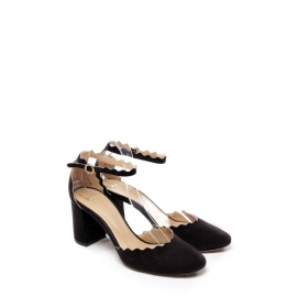 LAUREN Black suede leather scallop-edged d'Orsay pumps Retail price $695 size 36