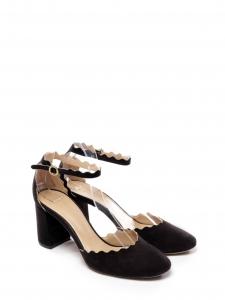 CHLOE Escarpins LAUREN à talon et bride cheville en suede noir scalloped Prix boutique 490€ Taille 37,5