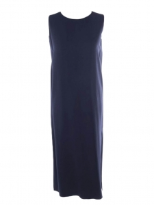 LANI midi length sleeveless navy blue crepe dress Retail price €1225 Size XS to S