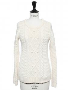 Pull col rond en maille de laine blanc ivoire et petits pompons Prix boutique 175€ Taille 36