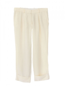 Cream ecru silk crepe cropped pants Retail price €550 Size 36