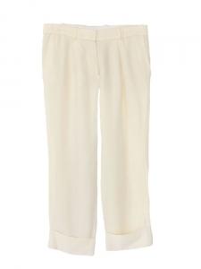 Pantalon court en crêpe de soie crème écru Px boutique 550€ Taille 36