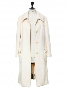 Cream white wool, cashgora and angora coat Retail price €1800 Size 40