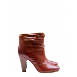 Cognac brown cut-out leather ankle boots Retail price €700 Size 39
