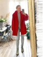 Oversized bright red wool coat with gold and wood buttons Retail price €1000 Size 40 to 42