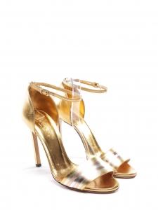 Sandales à talon fin et bride cheville en cuir doré et argent NEUVES Px boutique 790€ Taille 36,5