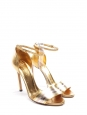 Gold and silver leather high heel ankle strap sandals NEW Retail price €790 Size 36.5