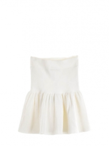 Gardenia white VALERIA pleated jersey mini skirt with ruffles Retail price $188 Size XS/S