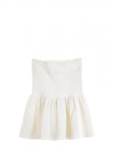Mini jupe VALERIA patineuse plissée à volants en jersey stretch blanc Gardenia Prix boutique $188 Taille XS/S