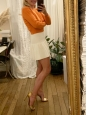 Gardenia white VALERIA pleated jersey mini skirt with ruffles Retail price $188 Size XS/S