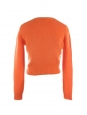 Bright orange cashmere wool round neck cropped sweater Retail price €600 Size S