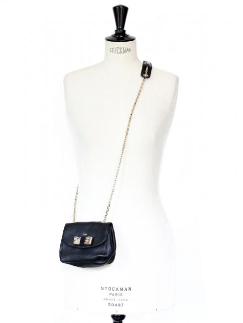 Mini sac à bandoulière Lily en cuir noir et noeud cristal swarovski Px boutique 550€