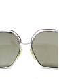 Silver frame sunglasses with a grey green gradient lens