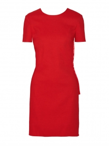 Bow-embellished Open back bright red linen-blend Shantung dress Retail price €1860 Size 38