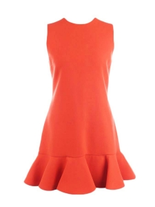 VICTORIA BECKHAM Orange red ruffled wool crepe dress Retail price $625 Size 38 (UK 10)