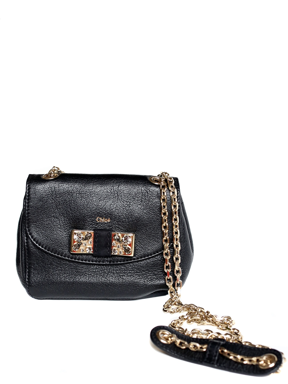 Louise Paris - CHLOE Black leather Lily mini cross body bag with a ...