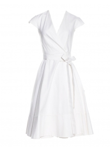 CHLOE White cotton short sleeve V neck midi wrap dress Retail price $1595 Size XS