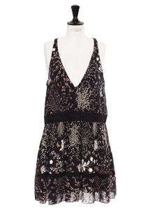 Botanical floral print black silk chiffon Deep V neck maxi dress Retail price €2895