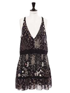 Robe Botanical en mousseline de soie noir fleuri décolleté V Prix boutique $2895