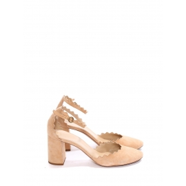 LAUREN Nude beige suede leather scallop-edged d'Orsay pumps Retail price $695 Size 38.5