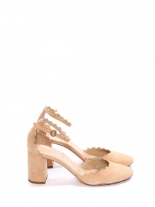 LAUREN Nude beige suede leather scallop-edged d'Orsay pumps NEW Retail price $695 Size 39