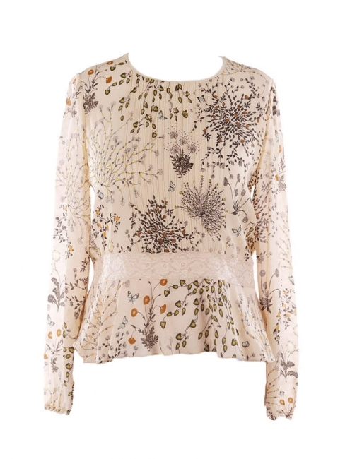 Beige silk chiffon and lace botanical floral print dress Retail price €950 Size 40