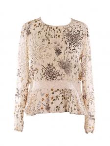 Blouse en mousseline de soie beige fleurie botanical Prix boutique 990€ Taille L