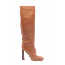 Camel brown leather wooden high heel boots NEW Retail price €1000 Size 40