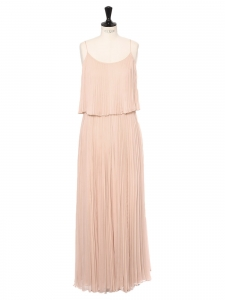 Powder pink pleated silk chiffon maxi dress with thin straps Retail price €800 Size 36