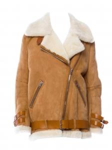 Manteau shearling VELOCITE en laine retournée beige et suede marron camel Prix boutique 2300€ Taille 34 à 38