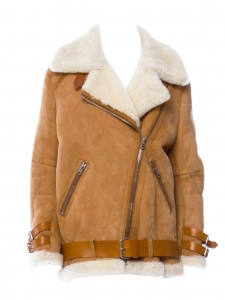 VELOCITE Camel brown suede and cream beige fur shearling jacket Retail price €2400 Size 34 to 38