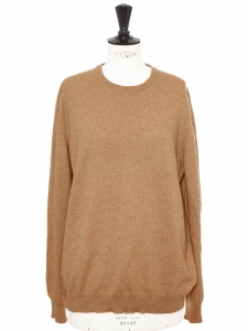 Pull col rond en cachemire beige camel NEUF Prix boutique 420€ Taille L