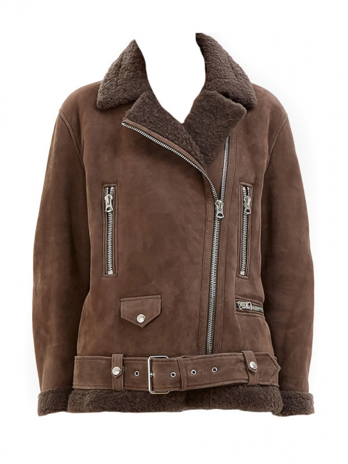 More she sue chocolate brown shearling jacket Retail price €2400 Size 34 to 38