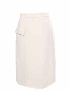 Midi length powder pink crepe straight skirt Retail price €900 Size 40