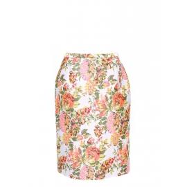 Jupe crayon imprimé Garden floral rose, vert, jaune, blanc Px boutique 500€ Taille 36