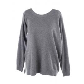 Pull col rond asymétrique en alpaga et laine gris foncé Prix boutique €525 Taille 36 à 38