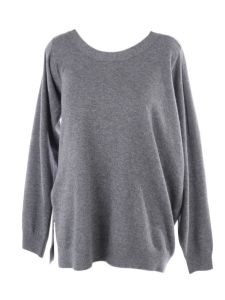 Round neck asymmetric dark grey alpaga and wool sweater Retail price €525 Size S to M