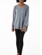 Round neck asymmetric dark grey alpaga and wool sweater Retail price €525 Size S to M