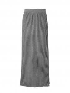 Jupe longue taille haute plissée en maille gris foncé Prix boutique $375 Taille XS