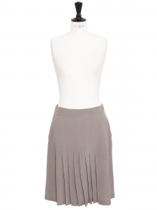 Taupe grey pleater silk skirt Retail price €500 Size 38/40