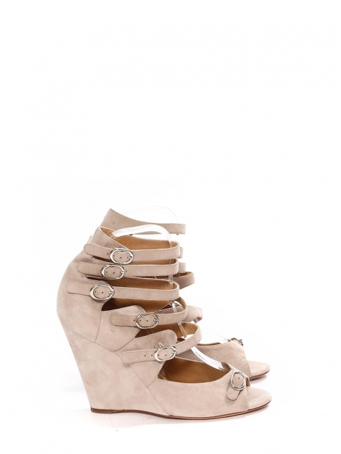 Beige pink multi-strap wedge sandals Retail price $760 Size 39